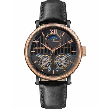 INGERSOLL Hollywood Automatic Black Leather Strap