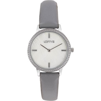 LOFTY'S Cassiopi Crystals Grey Leather Strap