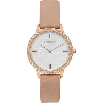 LOFTY'S Cassiopi Crystals Beige Leather Strap