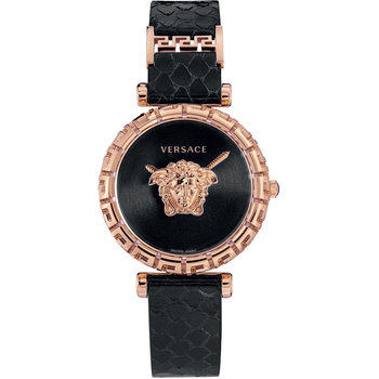 VERSACE Palazzo Empire Greca Black Leather Strap