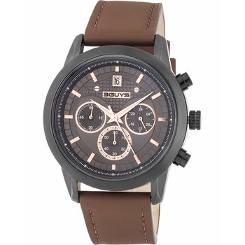 3GUYS Gents Chronograph Brown Leather Strap