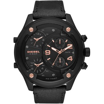 DIESEL Boltdown Triple Time Chronograph Black Leather Strap