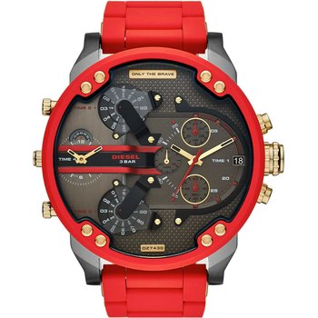 DIESEL Mr Daddy 2.0 Quad Time Chronograph Red Combined Materials Bracelet