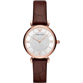 Emporio ARMANI Gianni T-Bar Crystals Brown Leather Strap
