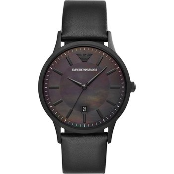 Emporio ARMANI Renato Black Leather Strap