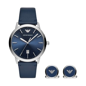 Emporio ARMANI Ruggero Blue Leather Strap Gift Set