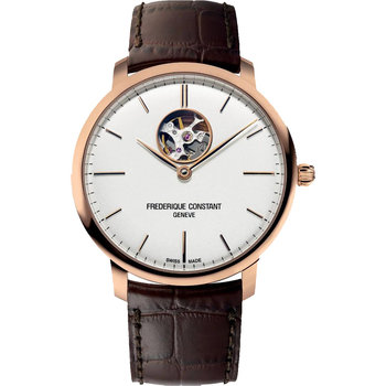 FREDERIQUE CONSTANT Slimline Heart Beat Automatic Brown Leather Strap