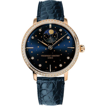 FREDERIQUE CONSTANT Slimline Moonphase Stars Manufacture Automatic Blue Leather Strap