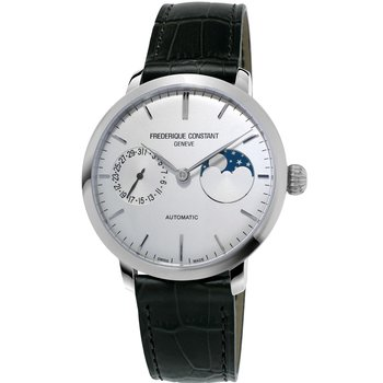 FREDERIQUE CONSTANT Slimline Moonphase Manufacture Automatic Black Leather Strap
