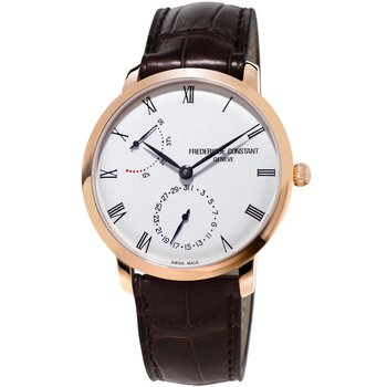 FREDERIQUE CONSTANT Slimline Power Reserve Manufacture Automatic Brown Leather Strap
