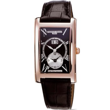 FREDERIQUE CONSTANT Automatic Dual Time Black Leather Strap