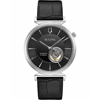 BULOVA Mechanical Collection Regatta Automatic Black Leather Strap