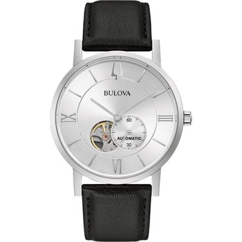 BULOVA Mechanical Collection American Clipper Automatic Black Leather Strap