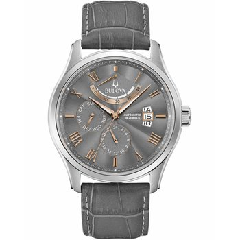 BULOVA Mechanical Collection Classic Wilton Automatic Grey Leather Strap