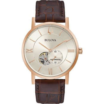 BULOVA Mechanical Collection American Clipper Automatic Brown Leather Strap
