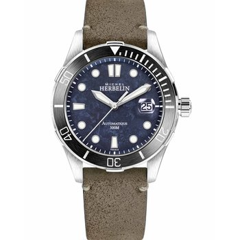 MICHEL HERBELIN Trophy Automatic Brown Leather Strap