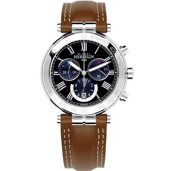 MICHEL HERBELIN Newport Classic Chrono Brown Leather Strap
