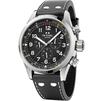 TW STEEL Swiss Volante Chronograph Black Leather Strap