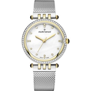 CLAUDE BERNARD Dress Code Crystals Silver Stainless Steel Bracelet