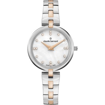 CLAUDE BERNARD Dress Code Crystals Two Tone Stainless Steel Bracelet