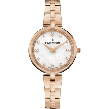 CLAUDE BERNARD Dress Code Crystals Rose Gold Stainless Steel Bracelet