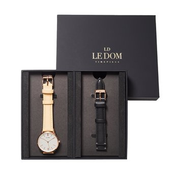 LE DOM Classic Beige Leather Strap Gift Set