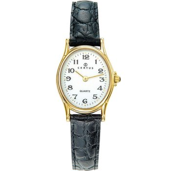 CERTUS Ladies Black Leather Strap