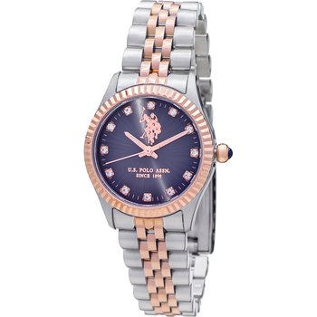 U.S. POLO Azure Crystals Two Tone Stainless Steel Bracelet