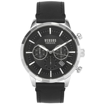 VERSUS VERSACE Eugene Chronograph Black Leather Strap