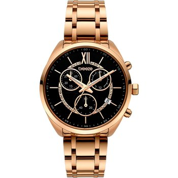 BREEZE Luxade Crystals Chronograph Rose Gold Stainless Steel Bracelet