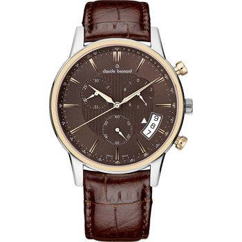 CLAUDE BERNARD Classic Gents Chronograph Brown Leather Strap
