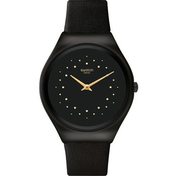 SWATCH Skin Irony Skin Shadow Black Leather Strap