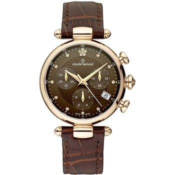 CLAUDE BERNARD Dress Code Crystals Chronograph Brown Leather Strap