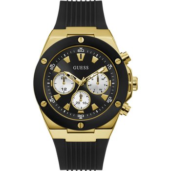 GUESS Mens Black Rubber Strap