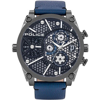 POLICE Vigor Dual Time Blue Leather Strap