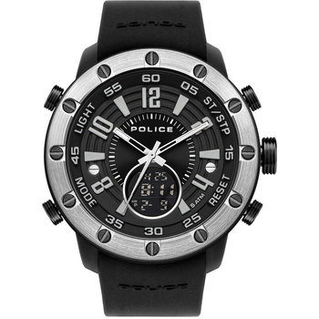 POLICE Batur Dual Time Chronograph Black Silicone Strap