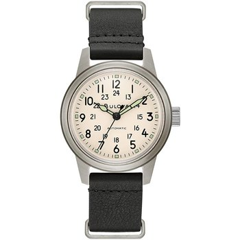 BULOVA Hawk Black Leather Strap
