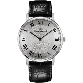 CLAUDE BERNARD Slim Line Black Leather Strap