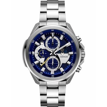BREEZE Omnius Chronograph Silver Stainless Steel Bracelet