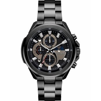 BREEZE Omnius Chronograph Black Stainless Steel Bracelet