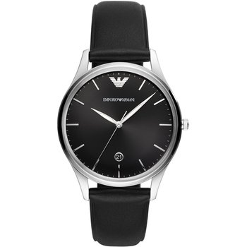 Emporio ARMANI Adriano Black Leather Strap