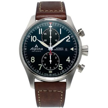 ALPINA Startimer Automatic Chronograph Brown Leather Strap