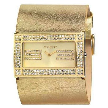JET SET Ladies Crystals Gold Leather Strap