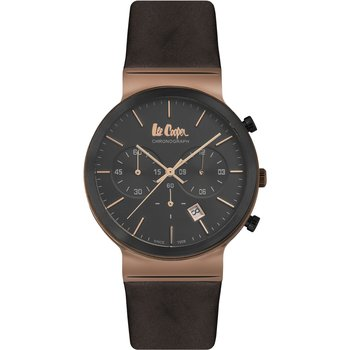 LEE COOPER Mens Chronograph Black Leather Strap