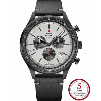 SWISS MILITARY by CHRONO Mens Black Leather Strap