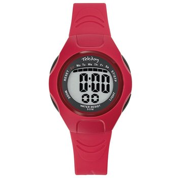 TEKDAY Ladies Chronograph Red Plastic Strap