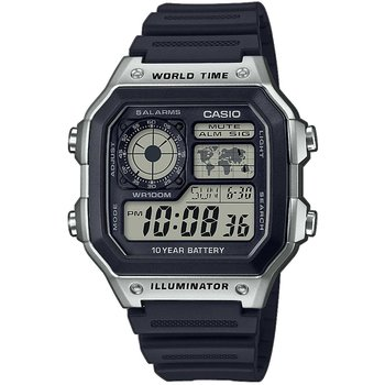CASIO Collection World Time Chronograph Black Rubber Strap