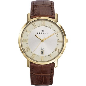 CERTUS Gents Brown Leather Strap