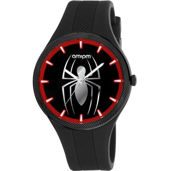 AM:PM Marvel Spiderman Black Silicone Strap