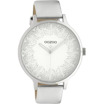 OOZOO Timepieces Silver Leather Strap